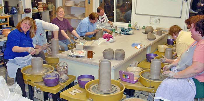 group pottery lesson