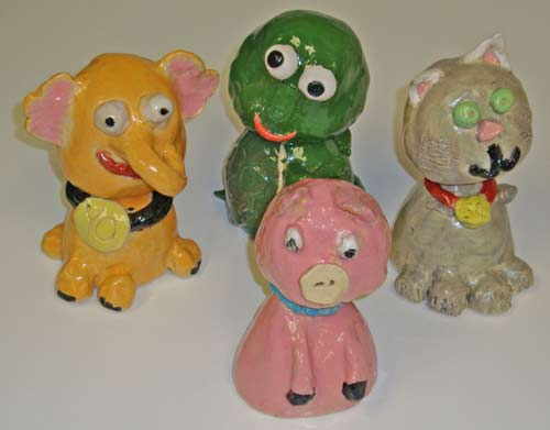 bobble heads animals - children clay projects