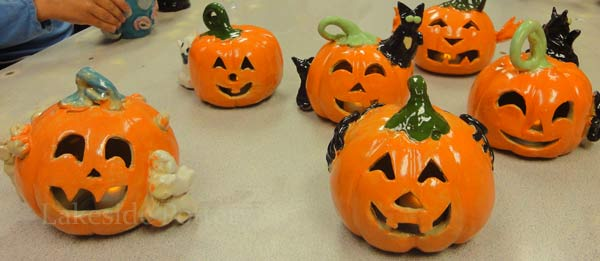 clay pumpkins - children pottery project