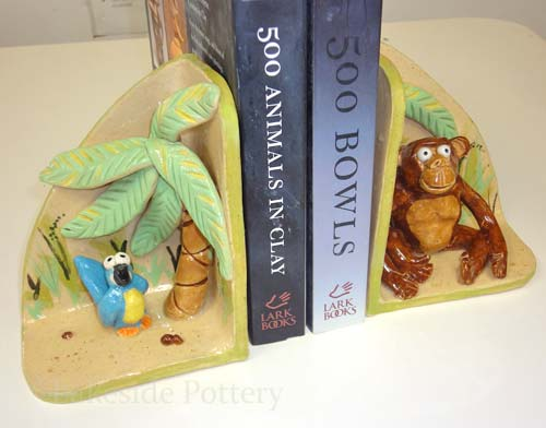 Animal book-ends slab kids clay project