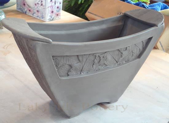 clay basket with window and handles