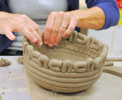 making decorative coiled pot