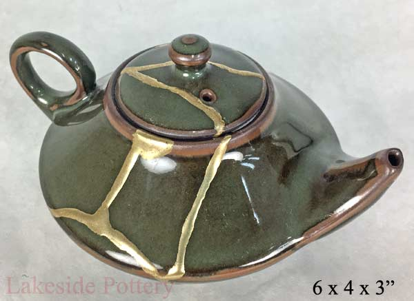 kintsugi repair - woodfired teabowl for sale