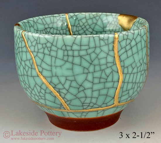 Crackle glaze orange/red vase