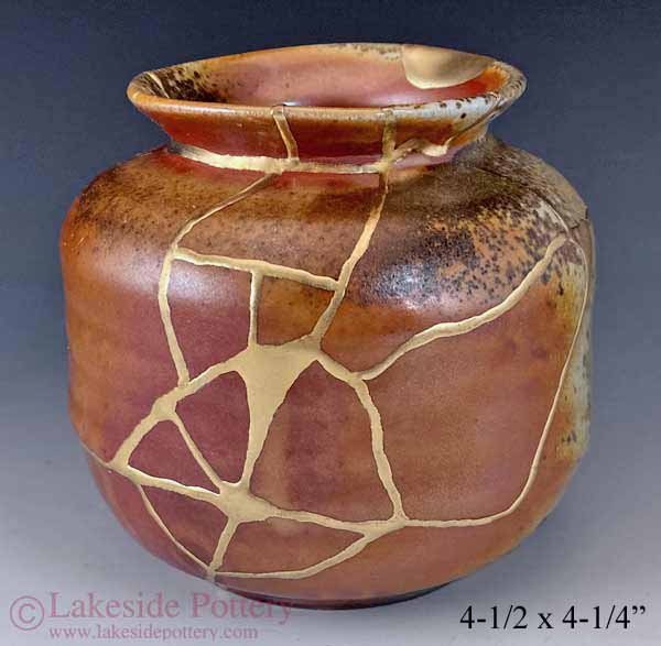 Wood fired Kintsugi vase