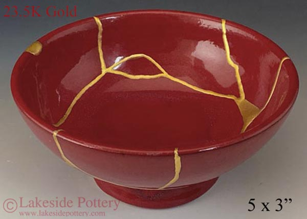 Ben Owen Speckled red bowl - Kintsugi