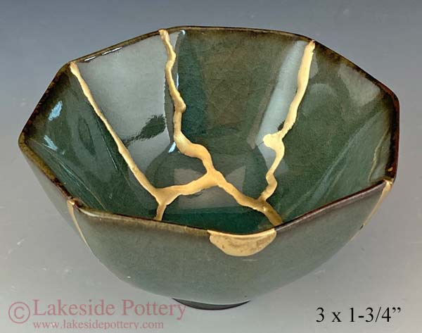 Crackled  Kintsugi Japanese bowl