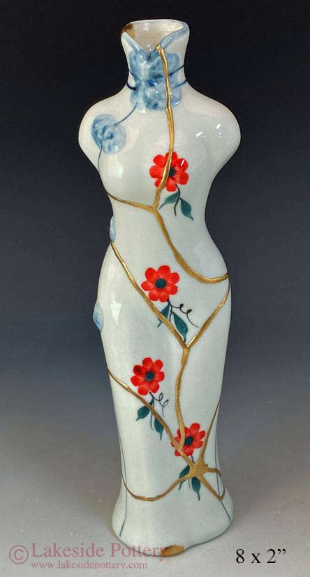 Japanese kintsugi lady woman figure vase