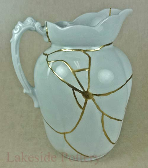 Kintsugi repaired large pitcher