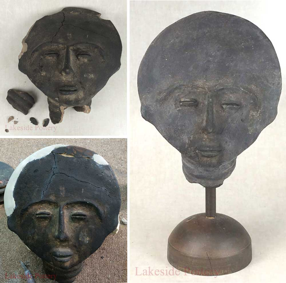 Ancient ceramic mask with broken and with missing pieces restored