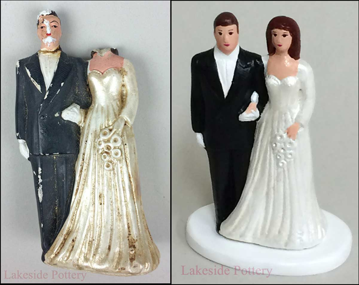 Bride and groom antique cake topper repair with missing parts