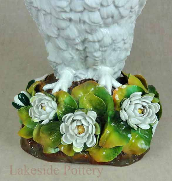 19th Century English porcelain owl oil lamp - restored