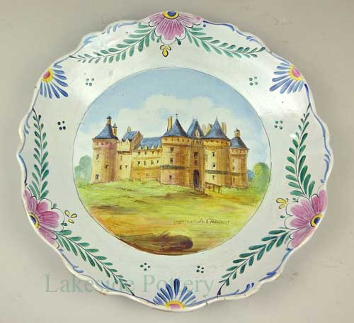 French Veuve Perrin Broken Plate all restored - castle scenery